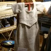 Dress made from local, processed flax grown by the ladies themselves.