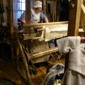 Ann working on the loom.